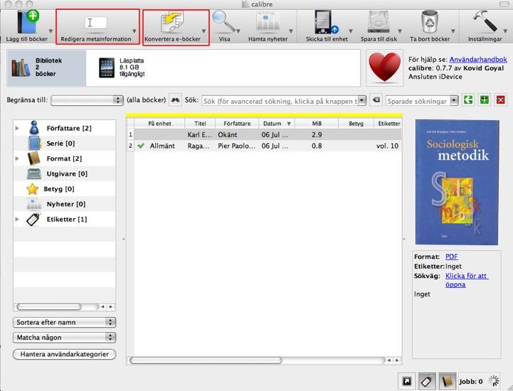 Konvertera PDF till ePub för iBooks med Calibre
