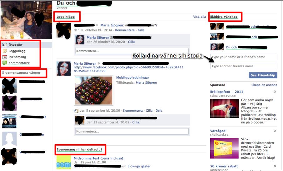 Facebook friendship pages (vänskapssidor)