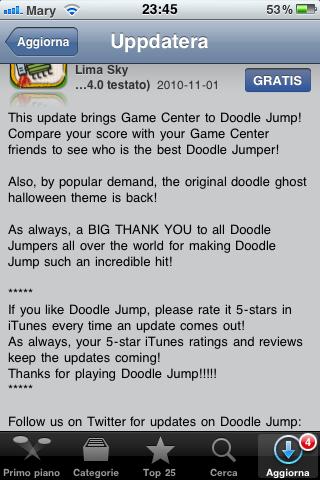 Doodle Jump är uppdaterat och har nu Game Center