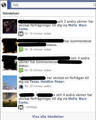 Facebook: applikationer i händelser