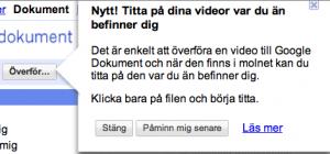 Google Docs stöder videoklipp