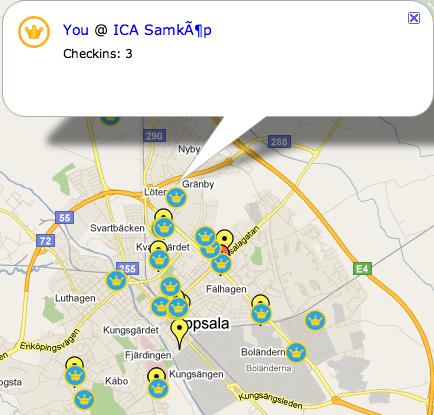4sq Maps: Foursquare på kartan