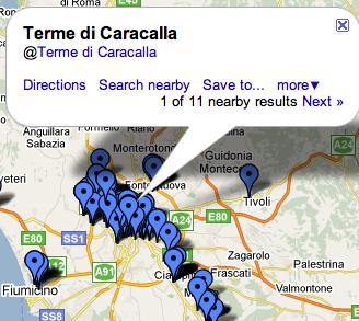 Check ins på Foursquare på karta från Google Maps