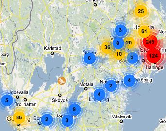 GowallaWalk: Gowalla-incheckningar på karta