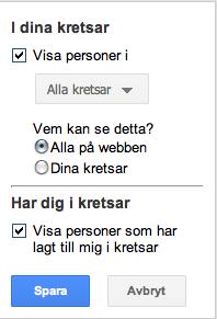 Google Plus: Visa kontakter på profilsidan