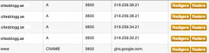 Bild på DNS-inställningar hos Binero