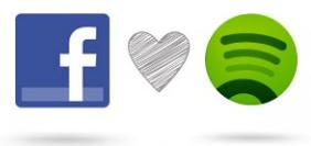 Bild på Spotifys och Facebooks ikoner