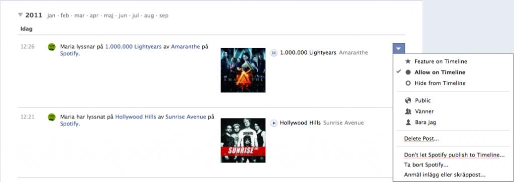 Bild på Facebook timeline: Spotify- låtar jag lyssnat på