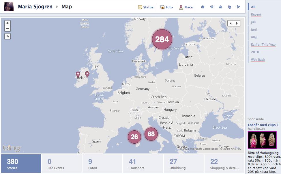 Bild på Karta med incheckningar från Facebooks tidslinje