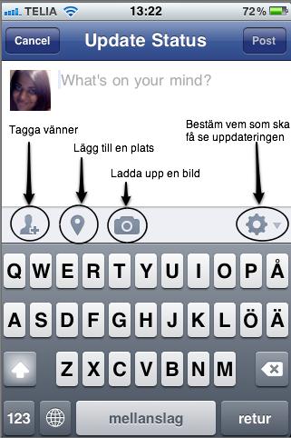 Bild på hur man kan uppdatera status, tagga vänner, checka in på Facebook för iPhone