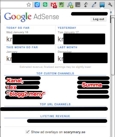 Google AdSense Publisher Toolbar för Chrome (bild)
