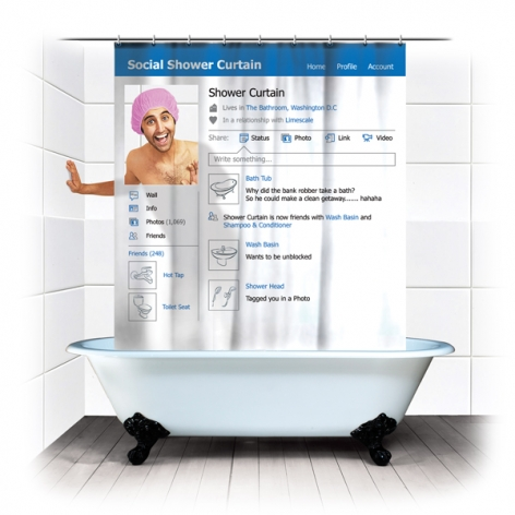 Social Shower Curtain: duschdraperi som Facebook-profil