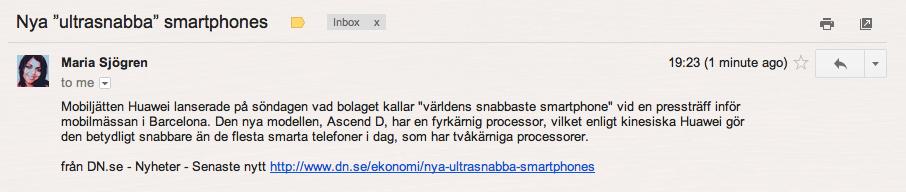 Bild på ifttt uppdaterat feed i Gmail