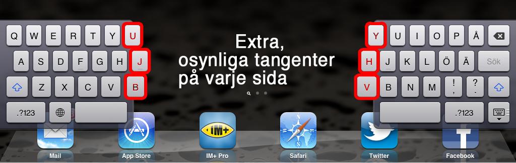Bild på delbart tangentbord på iPad