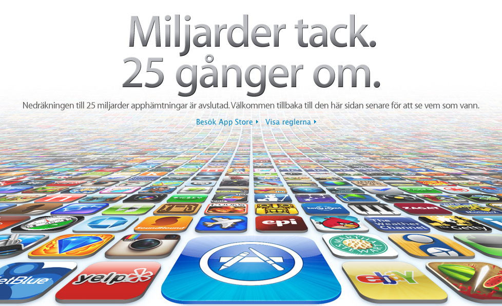 Bild på Apples tack för 25 miljarder nedladdningar